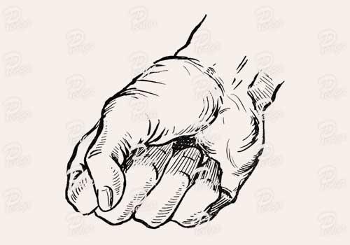 握り拳のイラスト ペン画 フリー ビンテージ アンティーク グー